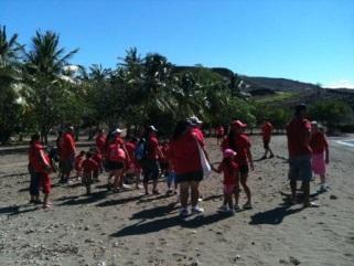 Punana Leo kids hiking the Ala Kahakai NHT near Puukohola Heiau