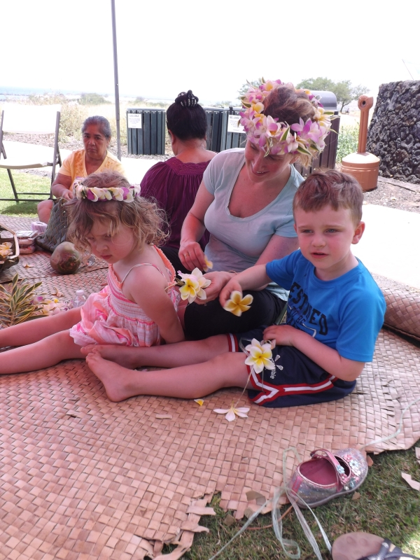 Some of our junior rangers enjoying National Junior Ranger day Pacific Island-style with lei making! (NPS)