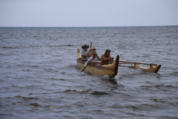 Visitors had the opportunity to ride in an outrigger canoe. (Dave Boyle/NPS)
