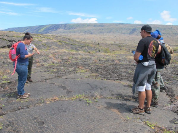 Students explore the Pu'uloa Petroglyphs  in the park. NPS Photo.