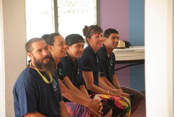 Hōkūle'a and Hikianalia crew members (L to R: Mahina, Nikki, Keika, Kat, Ryan)