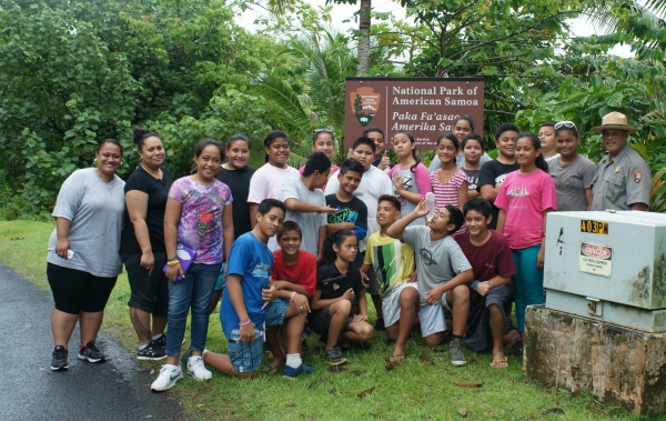 Some students from Lauli'i Elementary with Park Ranger Pua.