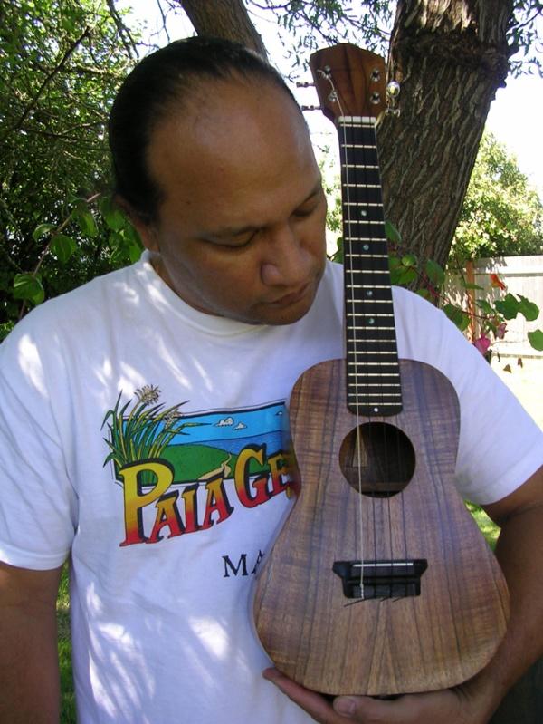 Oral Abihai and one of his 'ukulele instruments. Courtesy photo.
