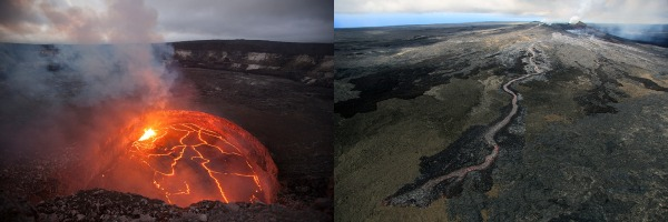 Halema'uma'u lava lake in October 2012 (left) and Pu'u 'Ō'ō lava flow in June 2014 (right). USGS Photo.