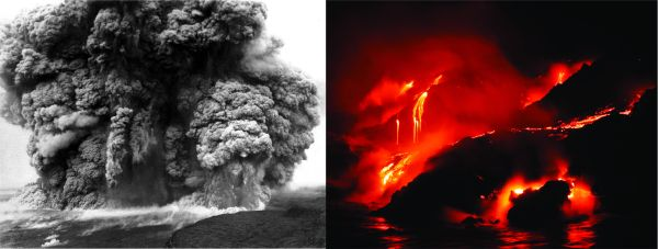 "Kīlauea Volcano's explosive eruption in 1924 (left) and ""quiet"" effusion of lava at ocean entry in 2002 (right). USGS Photo."