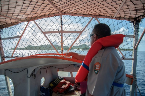 Park rangers braved the seas as they visit 'Aunu'u Island.