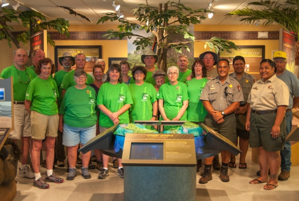 National Park Travelers Club members with Park rangers Pua, Sam, and Pai.
