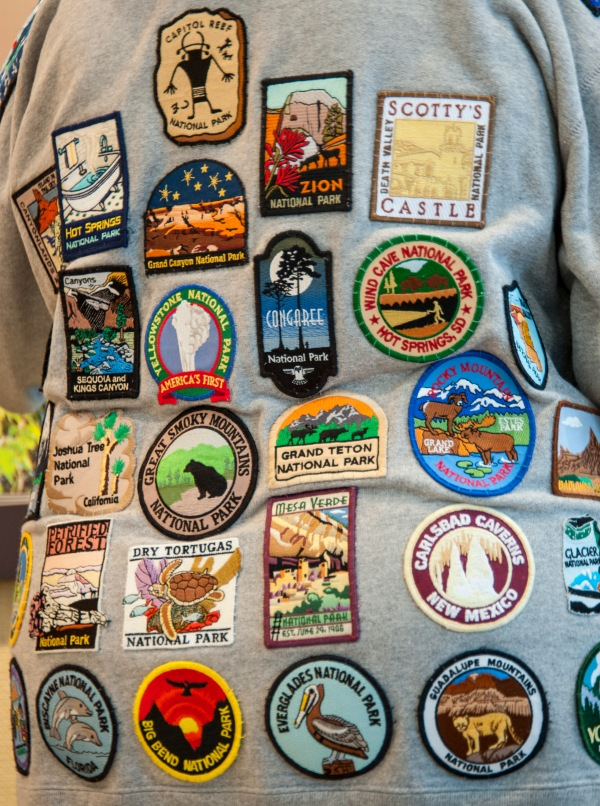Some of the national park patches she has collected