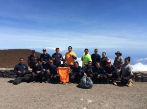 Maui Job Corps Facilities Maintenance interns at the summit.